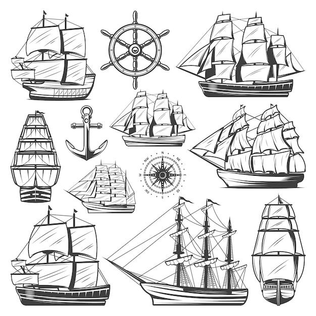 Vintage Kolekcja Dużych Statków Z Różnymi Statkami łodzi Kotwicy Kierownicy Darmowych Wektorów
