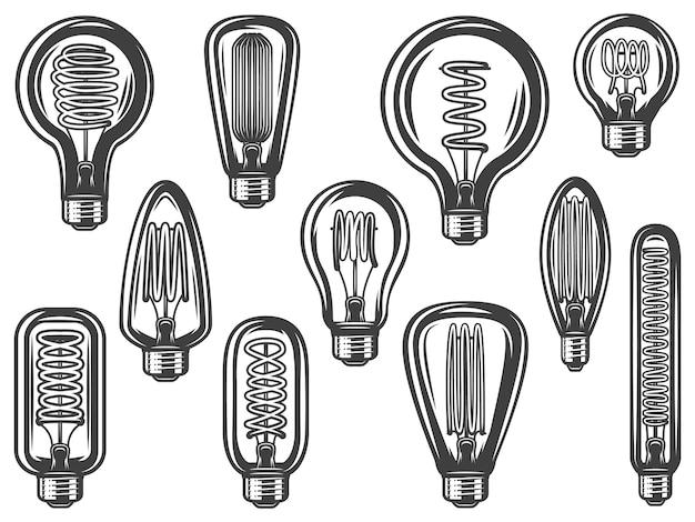 Vintage Kolekcja żarówek Z Energooszczędnymi I Energooszczędnymi żarówkami O Różnych Kształtach Na Białym Tle Darmowych Wektorów