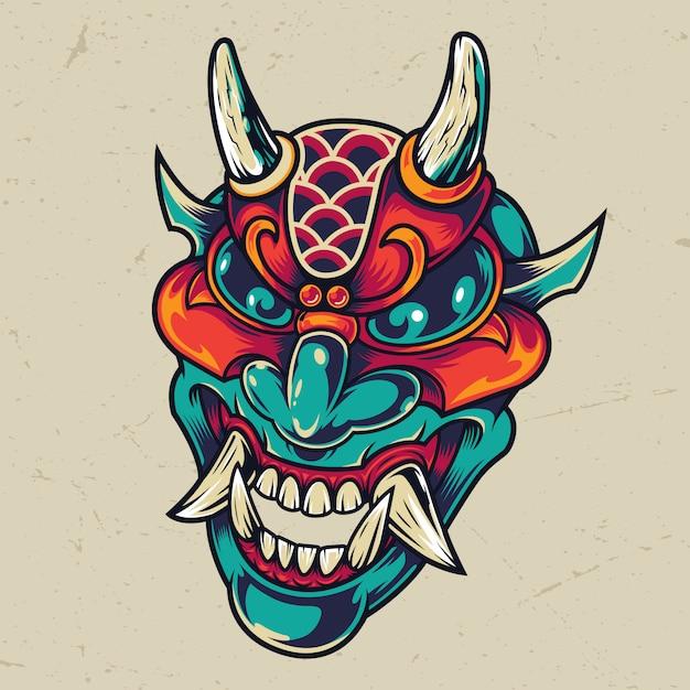 Vintage Kolorowe Diabeł Głowy Darmowych Wektorów