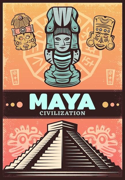 Vintage Kolorowy Plakat Starożytnych Majów Darmowych Wektorów