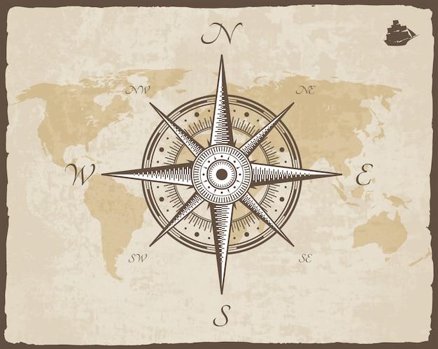 Vintage Kompas żeglarski. Stara Mapa Wektor Tekstury Papieru Z Poszarpane Ramki. Róża Wiatrów Premium Wektorów