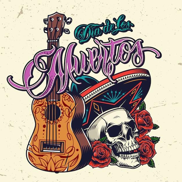 Vintage Koncepcja Dia De Los Muertos Darmowych Wektorów