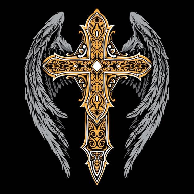 Vintage krzyż z ornamentem skrzydła Premium Wektorów