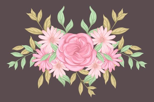 Vintage kwiatowy bukiet Darmowych Wektorów
