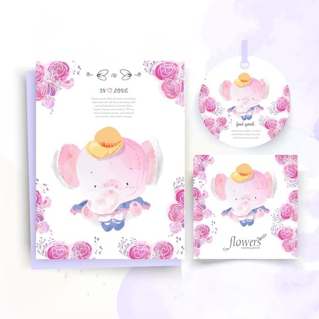 Vintage kwiatowy słodkie zwierzę karta w stylu przypominającym akwarele. Premium Wektorów