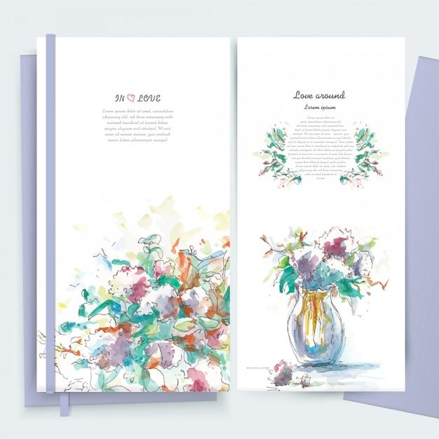 Vintage kwiaty kwiatowy kartkę z życzeniami ramki w stylu przypominającym akwarele. Premium Wektorów