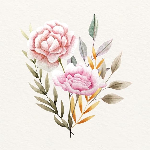 Vintage kwitnący bukiet kwiatów Darmowych Wektorów