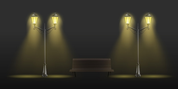Vintage latarnie świecące z żółtym światłem i drewnianej ławce Darmowych Wektorów