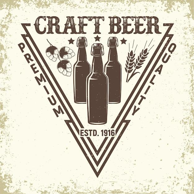 Vintage Logo Browaru, Emblemat Piwa Rzemieślniczego, Znaczki Z Nadrukiem Folwarcznym, Emblemat Typografii Piwnicy, Premium Wektorów