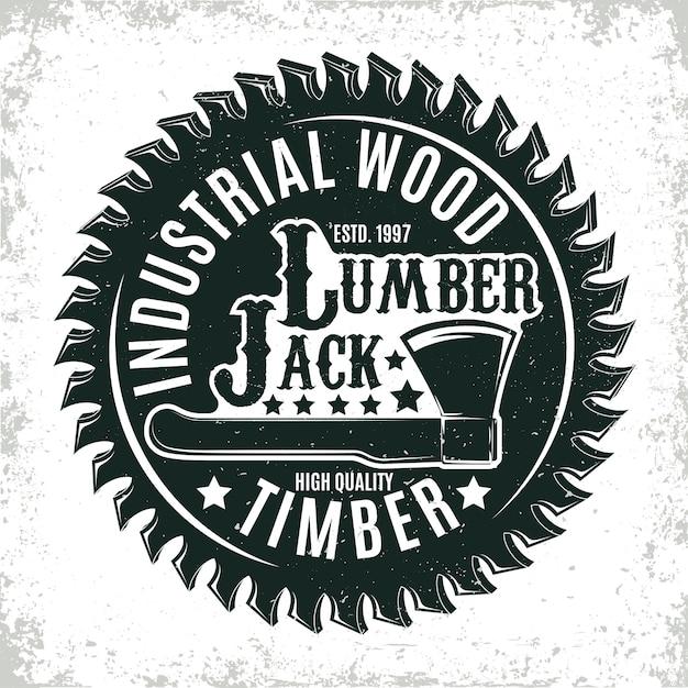 Vintage Logo Do Obróbki Drewna, Pieczęć Nadruku Folwarcznego, Kreatywny Emblemat Typografii Stolarskiej, Premium Wektorów