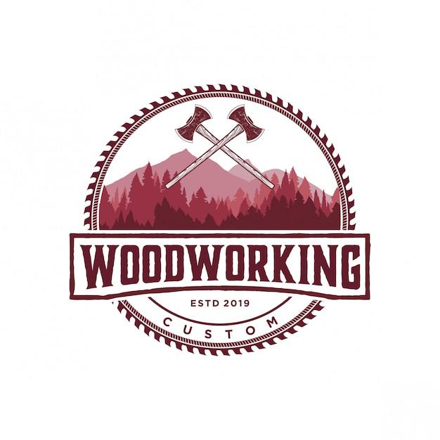 Vintage logo do obróbki drewna Premium Wektorów