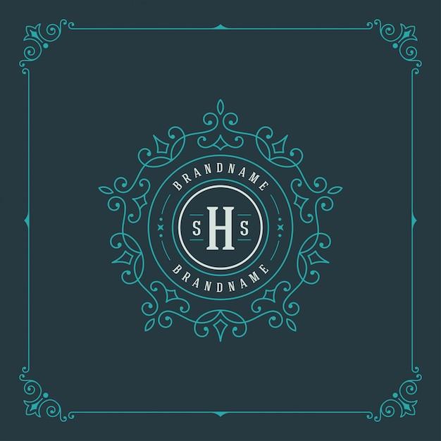 Vintage logo elegancko kwitnie ozdoby Premium Wektorów