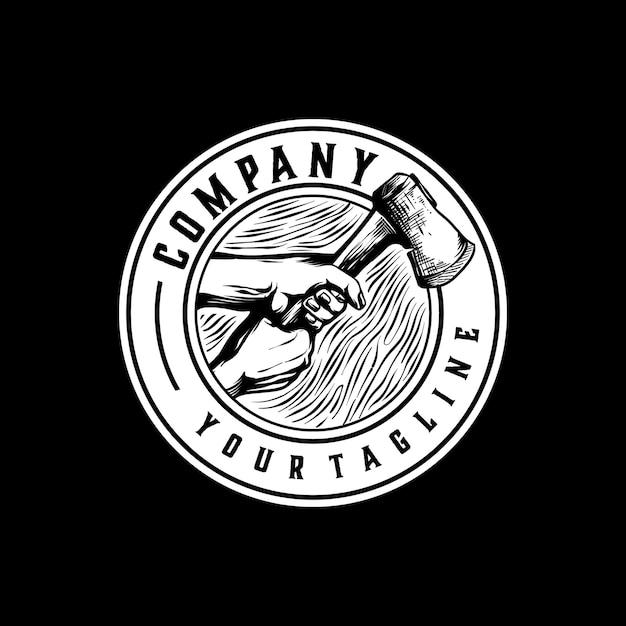 Vintage Logo Frezarki Do Drewna Premium Wektorów