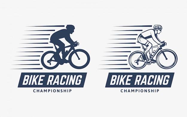 Vintage Logo Mistrzostw Wyścigów Rowerowych Premium Wektorów