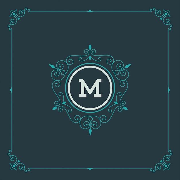 Vintage logo monogram szablon, złote eleganckie ozdoby ozdoby z ozdobną ramką ramki Premium Wektorów