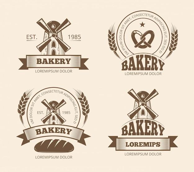 Vintage logo piekarni i chleb sklep etykiety odznaki emblematy Premium Wektorów