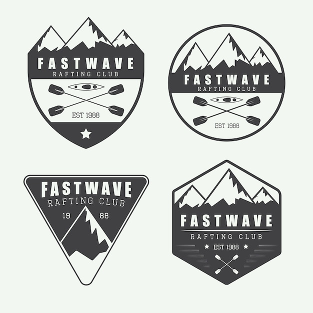 Vintage logo raftingu Premium Wektorów