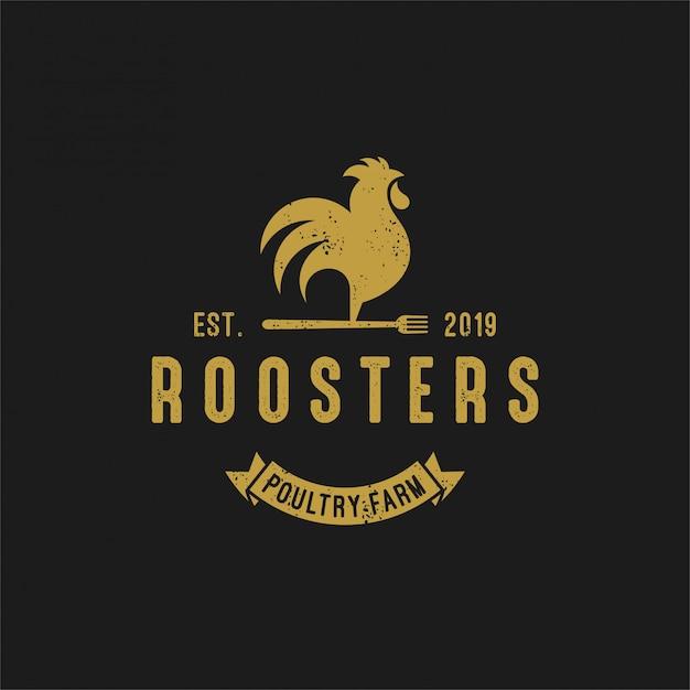 Vintage Logo Roosters Premium Wektorów