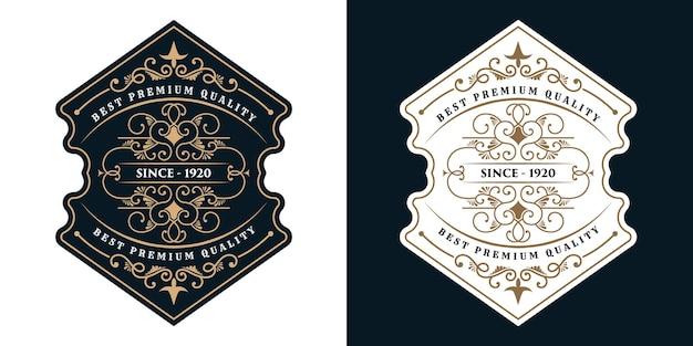 Vintage Luksusowe Ramki Na Etykiety Z Logo Na Etykiety Piwa Whisky, Alkoholu I Napojów Premium Wektorów