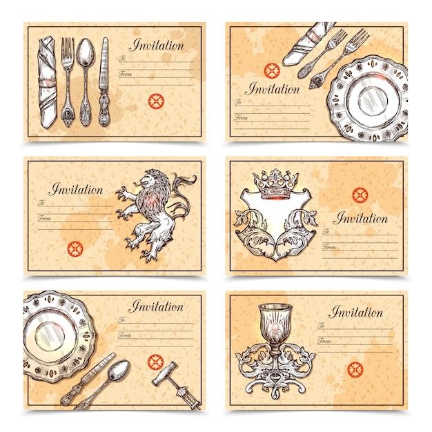 Vintage menu ustaw sztućce Darmowych Wektorów