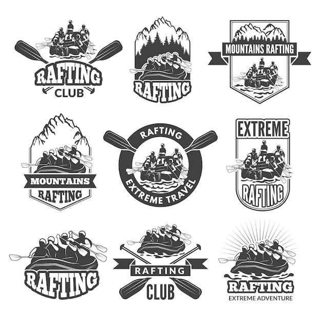 Vintage monochromatyczne etykiety do niebezpiecznych sportów wodnych. Premium Wektorów