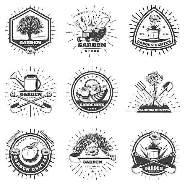 Vintage Monochromatyczne Logo Ogrodnictwo Zestaw Darmowych Wektorów