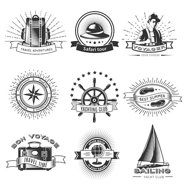 Vintage Monochromatyczne Logo Podróżne Z Plecakiem, Wycieczką Safari, Jachtingiem, Kołem, Klapką, Aparatem, Globusem I Podróżnikiem Na Białym Tle Darmowych Wektorów