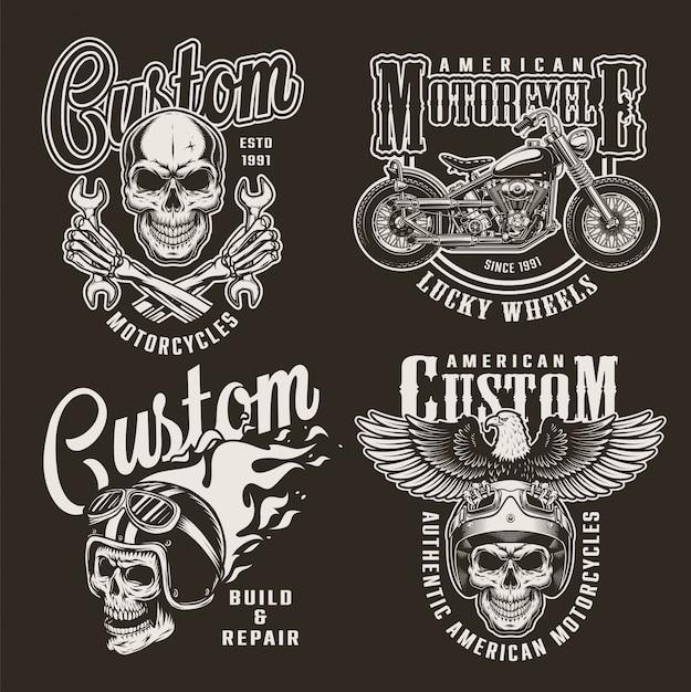 Vintage Monochromatyczne Niestandardowe Odznaki Motocyklowe Darmowych Wektorów