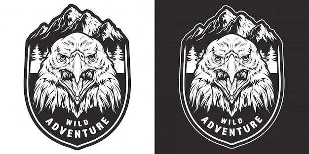 Vintage Monochromatyczne Odznaka Dzikich Zwierząt Darmowych Wektorów