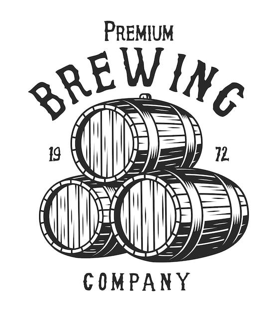Vintage Monochromatyczny Logo Firmy Piwowarskiej Darmowych Wektorów