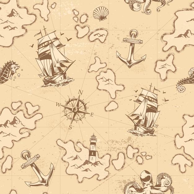 Vintage Morskie Wzór Darmowych Wektorów