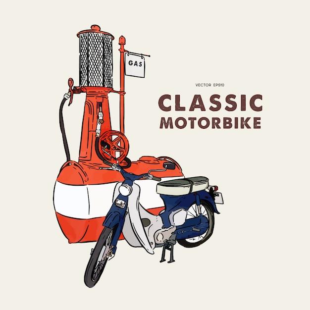Vintage motocykl. ręcznie rysować wektor szkic. Premium Wektorów