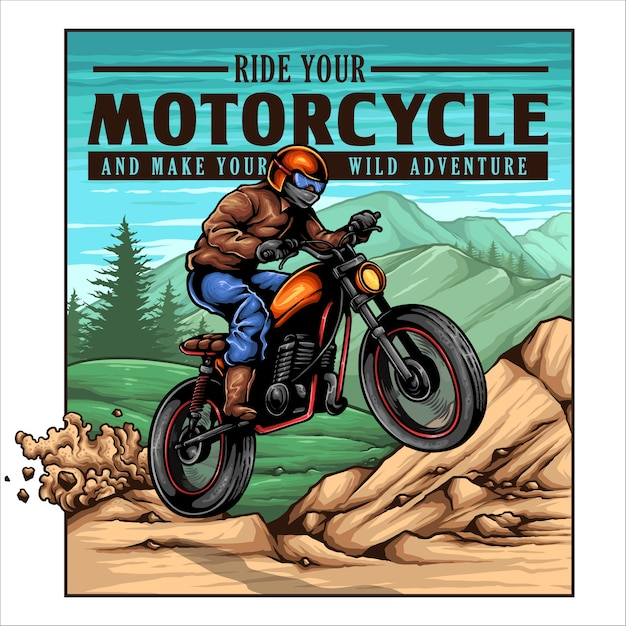 Vintage Motocyklista Jump On The Mountain Premium Wektorów