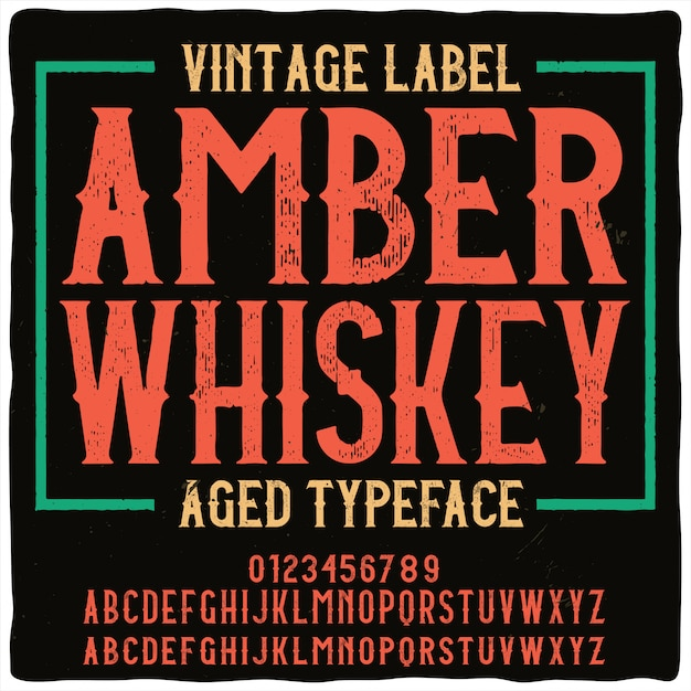 Vintage Napis Amber Whisky Premium Wektorów