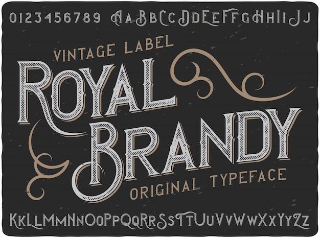 Vintage Napis Royal Brandy Premium Wektorów