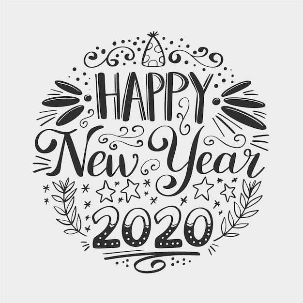 Vintage napis szczęśliwego nowego roku 2020 Darmowych Wektorów