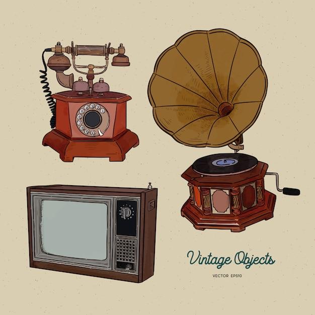 Vintage Obiektu Zestaw, Ręcznie Rysować Szkic Wektor. Premium Wektorów