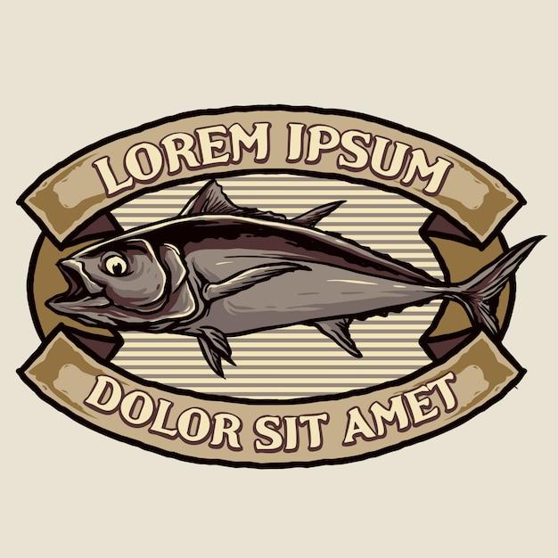 Vintage Odznaka Tuńczyka Premium Wektorów