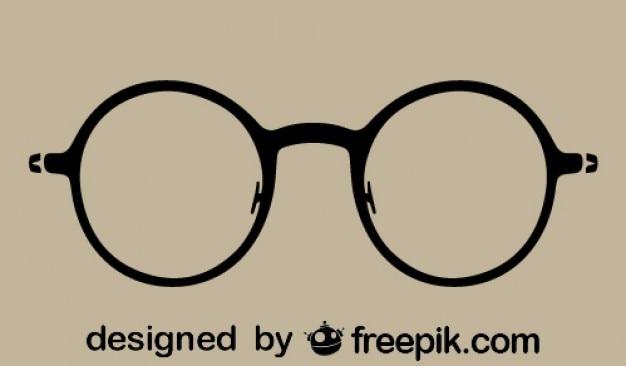 Vintage, okulary, sylwetka, runda ikona Darmowych Wektorów