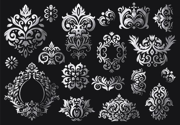 Vintage Ornament Barokowy. Ozdobny Kwiatowy Wzór Gałązek, Luksusowe Ozdoby Z Adamaszku I Wiktoriański Zestaw Skośnych Adamaszków Premium Wektorów