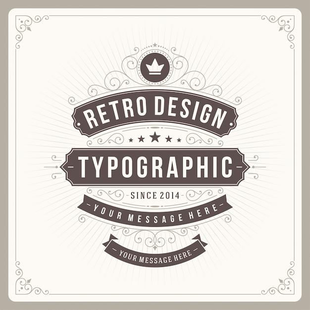 Vintage Ornament Etykiety Z Typografią Premium Wektorów