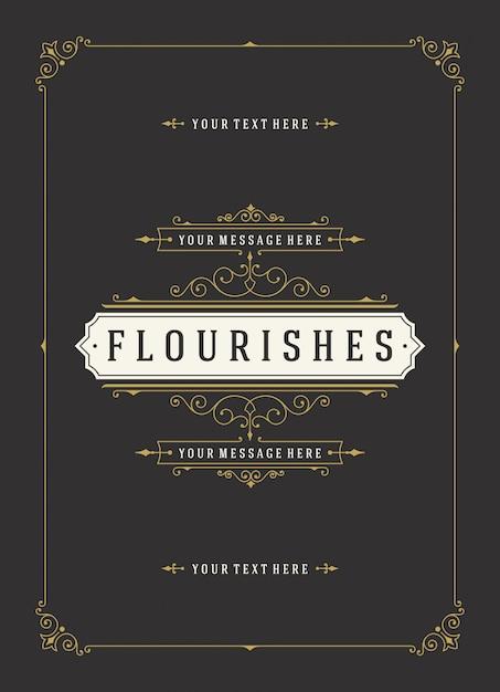 Vintage ornament kartkę z życzeniami kaligraficzna kwiecisty wiruje i winiet Premium Wektorów