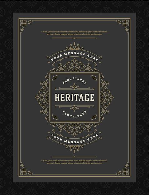 Vintage Ornament Kartkę Z życzeniami Kaligraficzne Ozdobne Wiry I Winiety Premium Wektorów