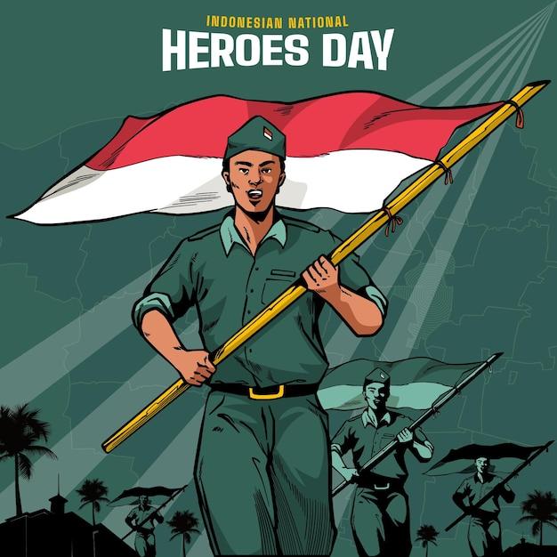Vintage Pahlawan / Heroes 'day Darmowych Wektorów
