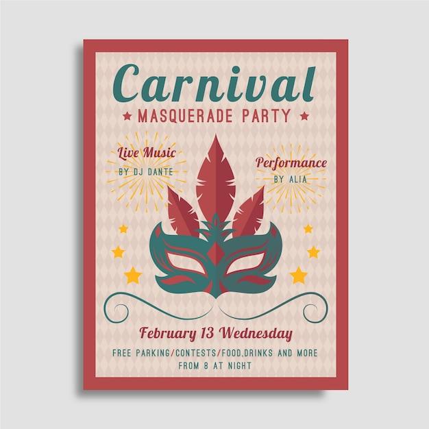 Vintage Party Plakat Karnawałowy Z Maską Darmowych Wektorów