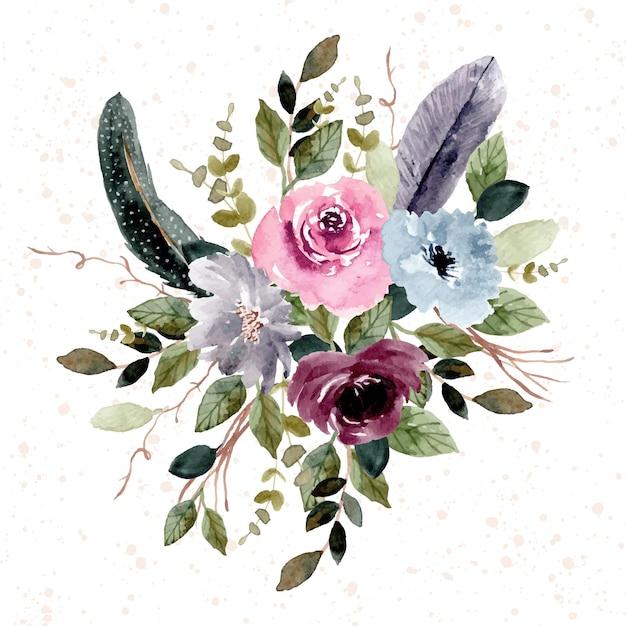 Vintage Pióro I Kwiat Akwarela Kompozycja Ogrodowa Premium Wektorów