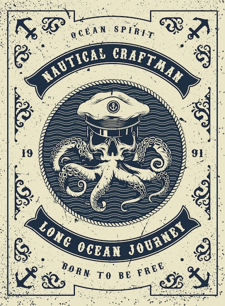 Vintage Plakat Morskich I Morskich Premium Wektorów