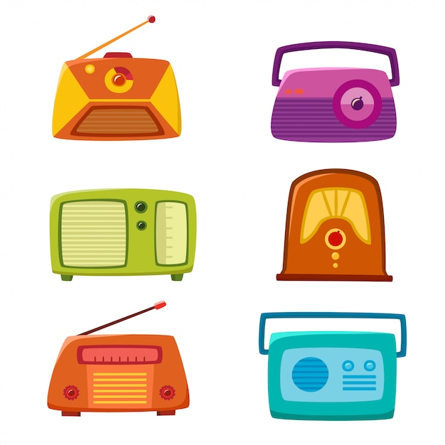 Vintage radio na białym tle Premium Wektorów