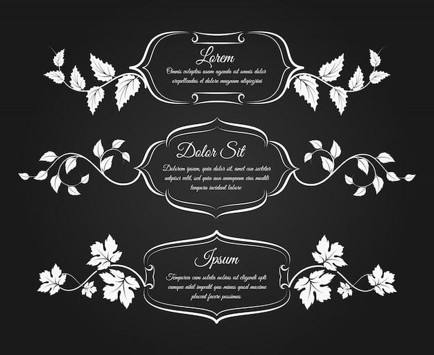 Vintage ramki z kwiatowymi elementami dekoracyjnymi Premium Wektorów