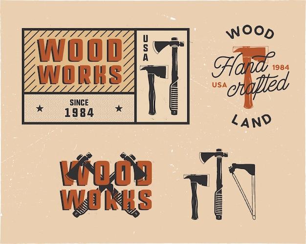 Vintage Ręcznie Rysowane Drewna Tagi Logo I Zestaw Emblematów Premium Wektorów